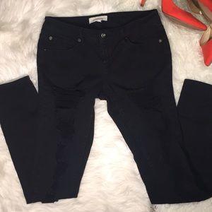 2.1 Denim Black Ripped Jeans